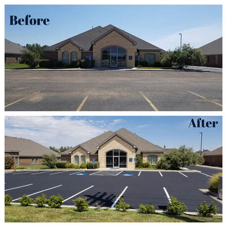 before and after of asphalt parking lot repair job at a commercial property in naples