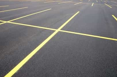 parking lot lines freshly painted